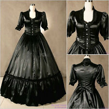 Black Victorian Gothic Satin Layered Ruffles Long Sleeve Lolita Cosplay Dress