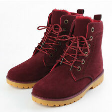 Womens Mens PU Leather Mid Calf Boots Snow Boots Warm Winter Lace Up Shoes NEW