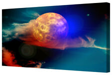 Abstract Fantasy New Moon Blue/Red Space Planet Canvas Picture Wall Art Print