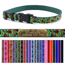"""Lupine 3/4"""" Nylon Dog Collar Strap with Free Custom Brass ID Name Plate Tag"""