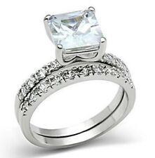 Princess Cut Clear CZ Wedding Engagement Ring Set  SZ 6 - 9