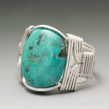 Turquoise Sterling Silver Wire Wrapped Cabochon Ring