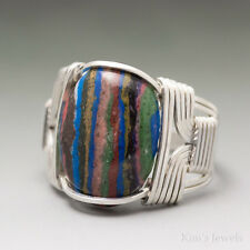 Rainbow Calsilica Sterling Silver Wire Wrap Gemstone Cabochon Ring - Ships Fast!