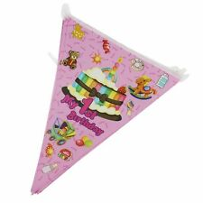 My 1st  birthday blue pink flag Triangle flag Party Holographic Flag Bunting