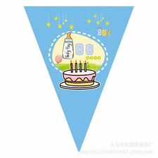 100 days blue pink birthday flag Triangle flag Party Holographic Flag Bunting