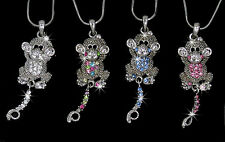 New Monkey Silver Tone Austrian Crystal Pendant Chain Necklace 4 Color