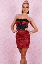 Evening Cocktail Clubwear Party Dress Prom Black Red Size 8 10