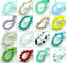 20pcs Rondelle Faceted Crystal Glass Jade Porcelain Loose Beads 10mm 80 Color