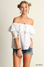 Umgee Romance Crochet Off-Shoulder Eyelet Lace Ruffle Top Blouse OFF White S M L