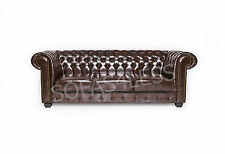 chesterfield bonded leather 3+2 seater sofa + armchair oxblood red antique brown