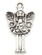 Lots 15/240Pcs Tibetan silver Craft Jewelry Angel Girl Wings DIY Charms Pendants