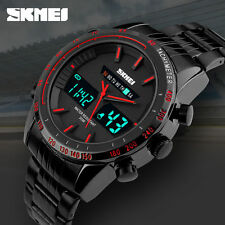 SKMEI Men's Full Stainless Steel Waterproof Date Analog LED Digital Quartz Watch
