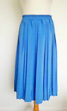 Vintage Long Pleated Electric Blue Skirt Made in Uk Elasticated Waist Size 10 14