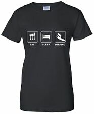 Eat Sleep Surf Ladies Fitted T-Shirt Surfing TShirt Surfboard T Shirt Surfer