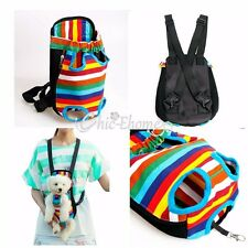 Rainbow Striped Fancy Dog Pet Puppy Carrier Backpack Front Tote Carrier Net Bag