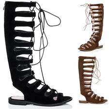 Womens Lace Up Flat Gladiator Sandals Shoes Sz 5-10