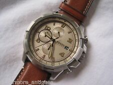 New Fossil FS5130 Dean Chronograph Light Brown Leather Stainless 45mm NO BOX