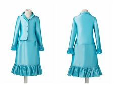 Turquoise Stock Kids Girl's pageant Girls interview suit dress gown Jacket Skirt