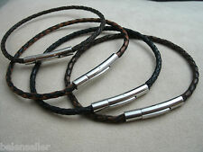 Leather Bracelet Braided Leather Stainless Steel Locking Clasp Men's Women's