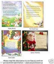 * Personalized Letter From Santa Claus Easter Bunny Tooth Fairy Papa Noel Gift