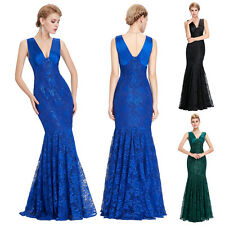 Sexy Lace Long Evening Formal Party Cocktail Bridesmaid Mermaid Dress Prom Satin