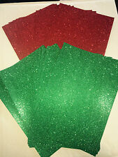 10 Sheets of red or green soft touch fixed glitter card 220gsm