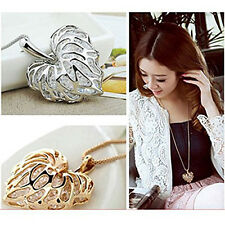Graceful Hollow-out Love Heart Leaf Pendant Crystal Necklace Sweater Chain New