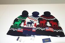 $98 NWT Polo Ralph Lauren Wool Reindeer Holiday Pom Beanie Hat Size OSFA