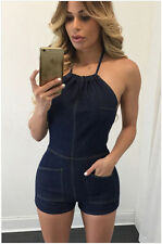 Fashion Jeans Sexy Halter Sleeveless Backless Short Jumpsuit Women's Rompers