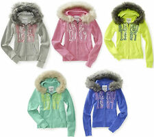 AEROPOSTALE WOMENS AERO FULL ZIP BLING FUR HOODIE SWEATSHIRT JUMPER JACKET NWT