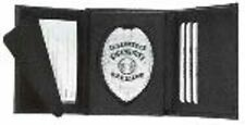Black  Leather Hidden Badge Wallet- Oval Cut Out
