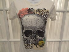 "New Loungefly ""Floral Sugar Skulls"" Junior's Ivory Tee Shirt - Sizes S - L"