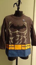 NWT Batman Toddler Gray Long Sleeve Dress-up Tee With Cape - Sizes 2T & 3T