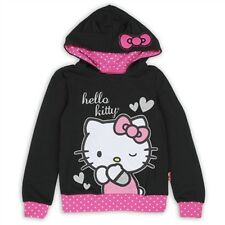 NWT Hello Kitty Little Girl's Black & Pink Glitter Pullover Hoodie - Sizes 4-6X