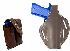 New Barsony Brown Leather Pancake Holster + Dbl Mag Pouch Ruger Full Size 9mm 40