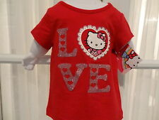 "NWT Hello Kitty Infant/Toddler Girl's ""Love"" Red Short Sleeve Sparkly Tee"