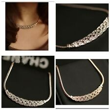 Jewelry Pendant Crystal Choker Chunky Statement Bib Necklace Chain Gold Silver