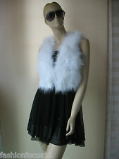 free shipping/Free shipping/real ostrich feather fur vest/jacket/S-M-L-XL white