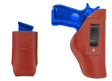 New Barsony Burgundy Leather IWB Holster + Mag Pouch CZ EAA FEG Full Size 9mm 40