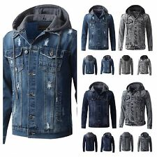 Men's Jean Jacket  Detachable Hood Urban  Hip Hop workout Winter Denim Jacket