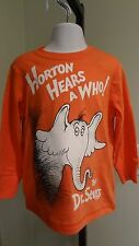 "NWT Dr. Seuss Toddler Boys ""Horton"" Orange Long Sleeve Tee: Sizes 18-24 mos & 3T"