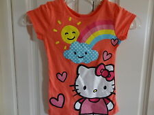 NWT Hello Kitty Little Girl's Sparkly Rainbow, Sun & Clouds Tee - 4-6X