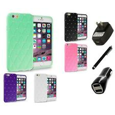 For Apple iPhone 6 (4.7) Diamond Bling Silicone Case Cover Charger+Stylus