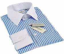 Berlioni slim fit checkered fashion Dress shirt two tone French Convertible Blue