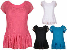 Womens Short Cap Sleeves Ladies Lined Floral Lace Peplum T-Shirt Top Plus Size