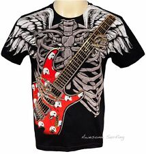 ARTFUL COUTURE RED GUITAR WINGS TATTOO T-SHIRT Sz M L XL GRAFFITI PUNK BIKER