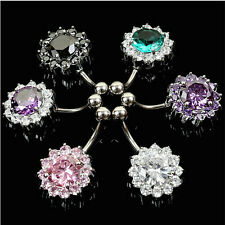 Charm Stainless Steel Zircon Flower Belly Navel Ring Button Bar Piercing Jewelry