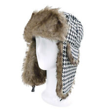 Warm Winter Houndstooth Faux Fur Trapper Ski Snowboard Hunter Hat