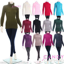 Ladies Aran Cowl Cable Knitted Jumper Sweater Long Sleeve Top Size 8 10 12 14 16