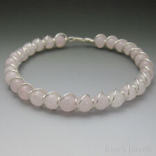 Rose Quartz Sterling Silver Wire Wrapped Beaded Bracelet